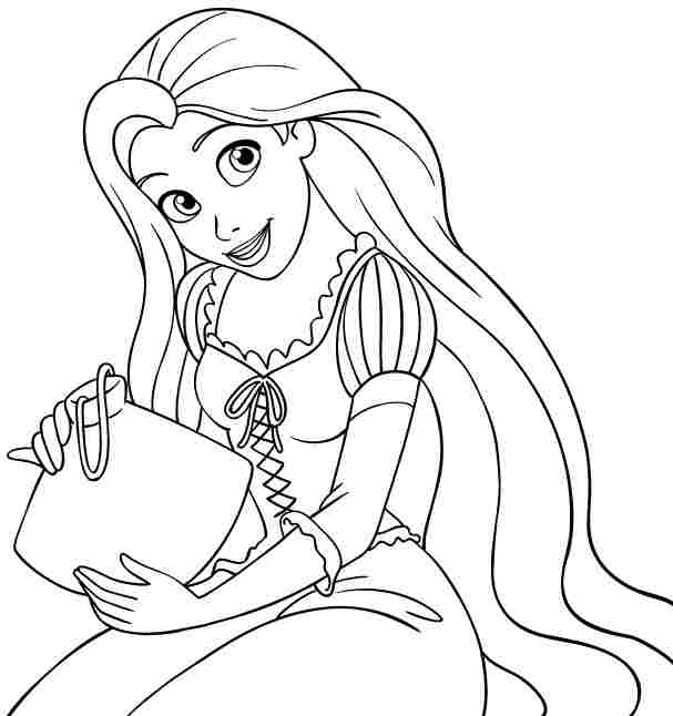 607x646 Tangled Coloring Pages Printable
