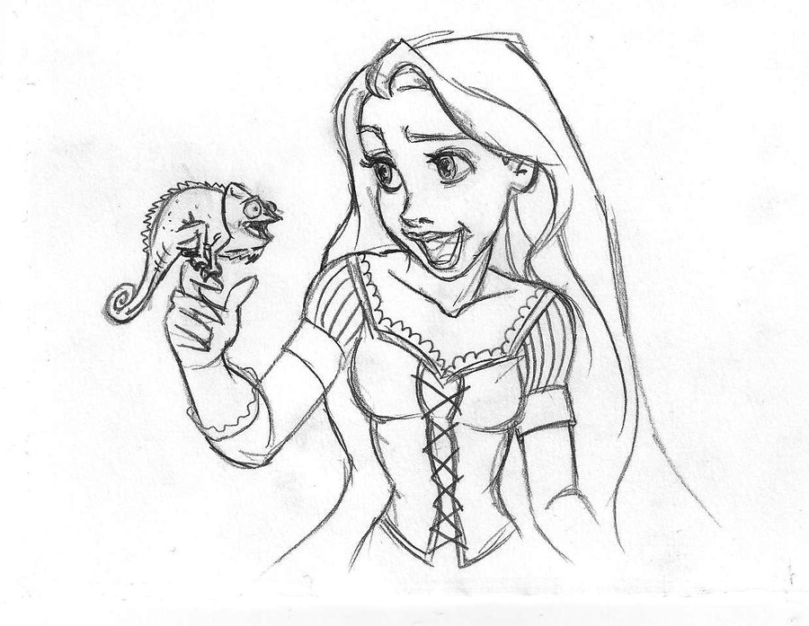900x697 Rapunzel Pascal Sketch By Danielfoez
