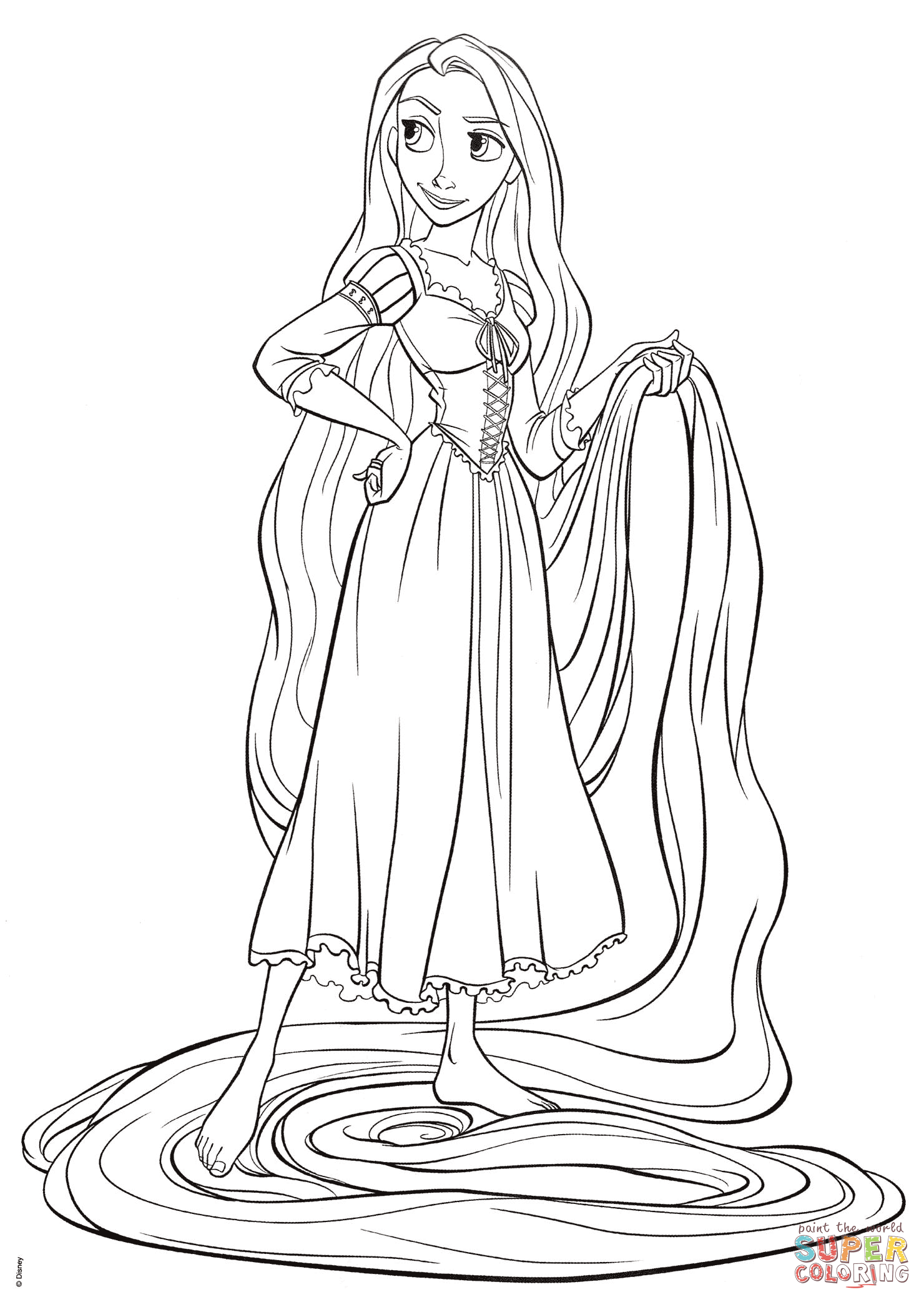 1480x2085 Rapunzel From Tangled Coloring Page Free Printable Pages