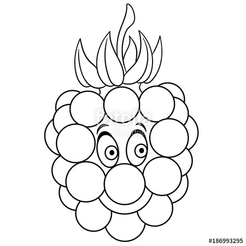 500x500 Coloring Book. Coloring Page. Cartoon Raspberry Character. Happy