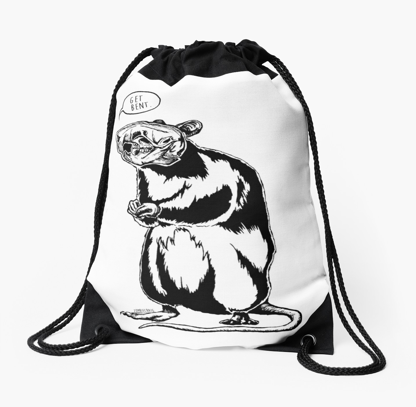1435x1404 Get Bent Rat Skull Ink Drawstring Bags By Zombiecraig Redbubble