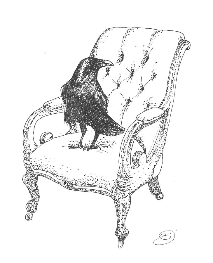 730x900 Grip The Raven Drawing By Eileen Budd