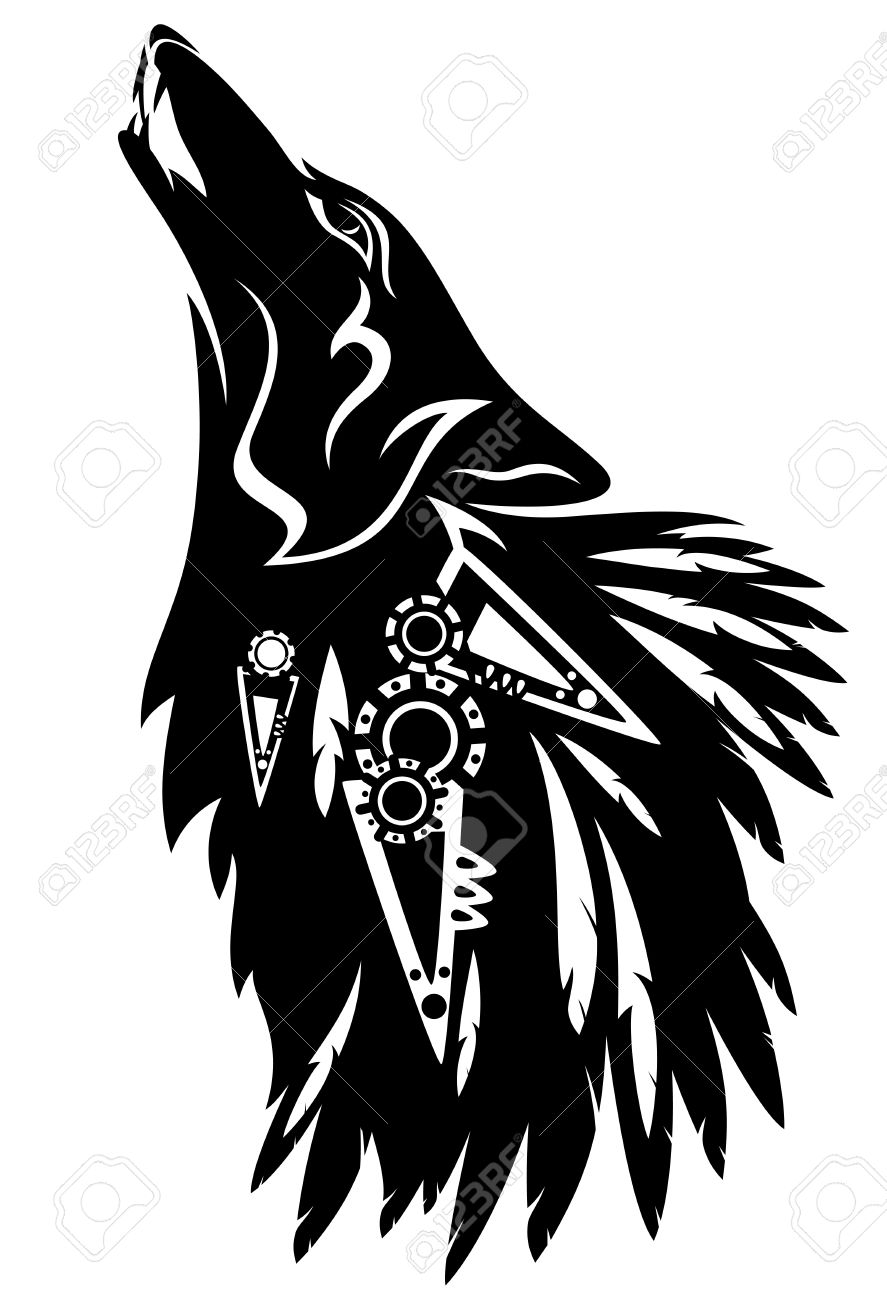 887x1300 Howling Wolf With Traditional North American Indian Feather