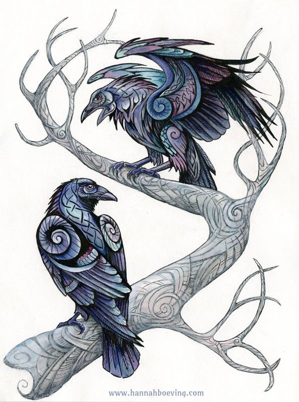 595x800 Odin's Ravens. Mixed Media (Ink, Watercolor, Colored Pencil