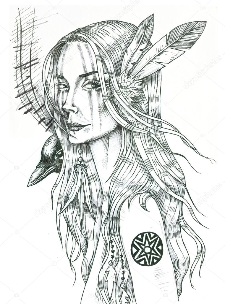 761x1024 Portrait Of Indian Girl With Feathers And Raven On Her Shoulder