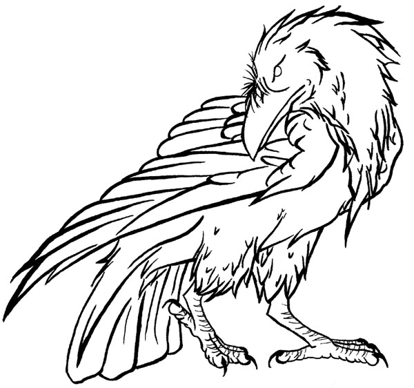 600x562 Raven Lineart 2 By Falconsong
