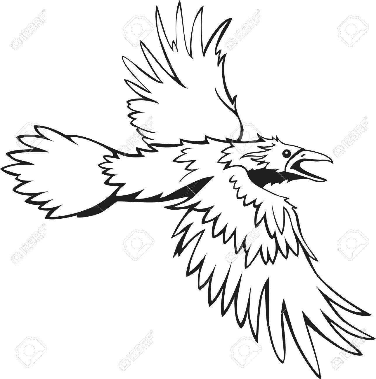 1287x1300 Sketch Of Flying Raven, Black And White, Outline Royalty Free