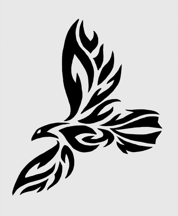 592x720 Tribal Raven Tattoo By Twistedcaliber