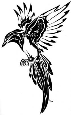 250x400 Feather Tattoo Tribal Tribal Magpie Feather Tattoo