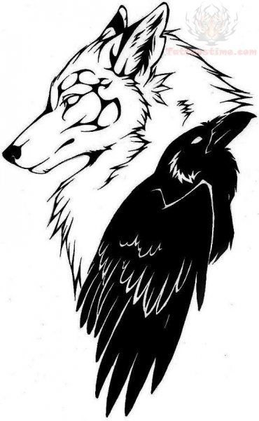 370x600 Wolf Head And Raven Tattoo Design. I Really Like This! Although