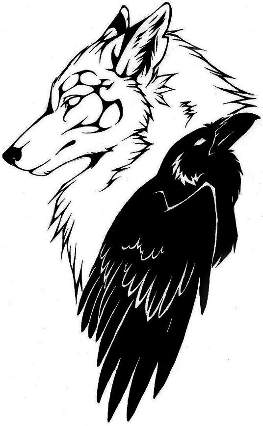 536x869 Outline Wolf Head And Black Raven Tattoo Design By Ravensilverclaw