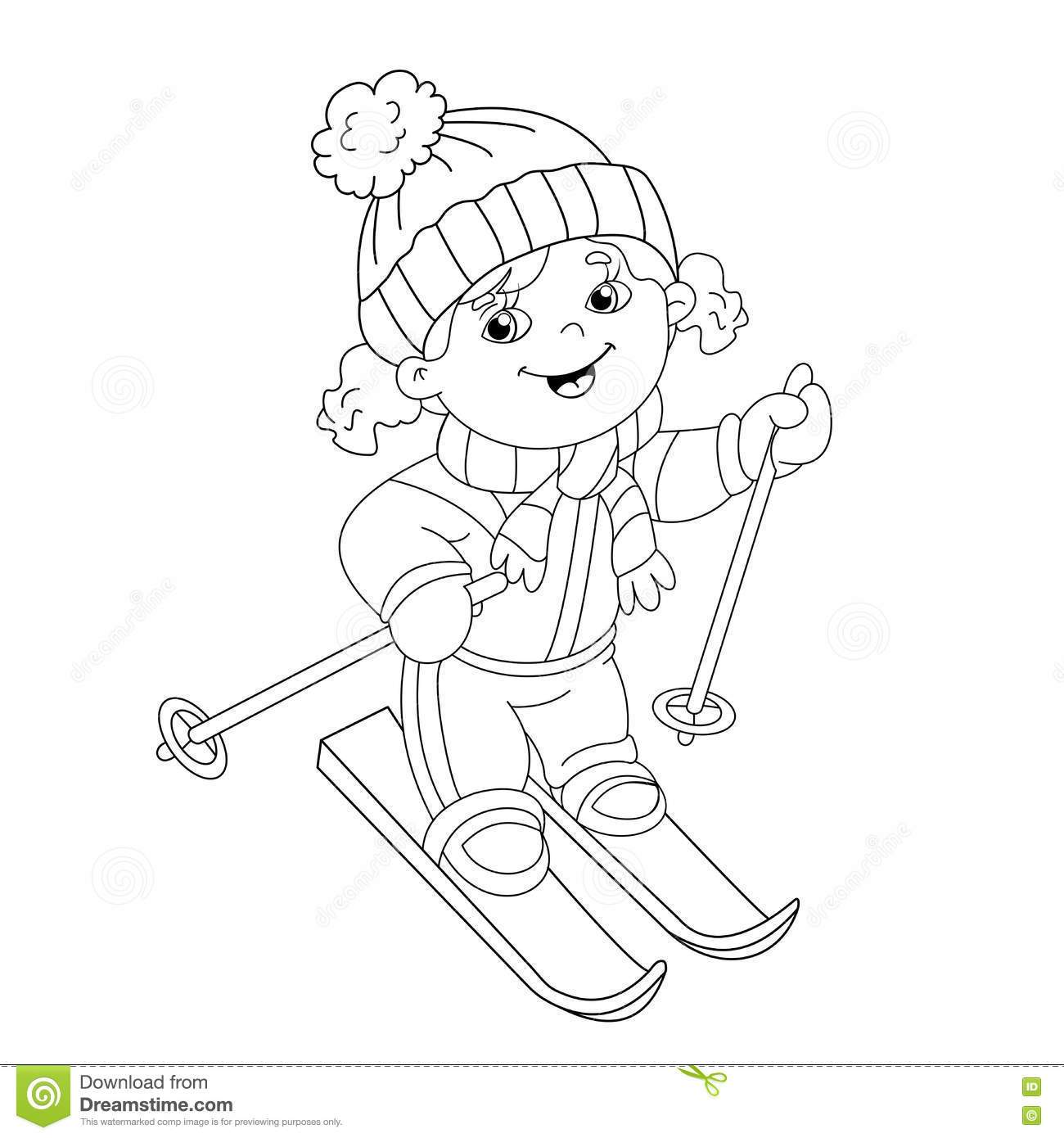 1300x1390 The Best Coloring Page Outline Of Cartoon Girl Riding On Skis