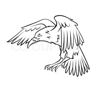 320x308 Vector Drawing A Flying Crow Stock Vector Colourbox