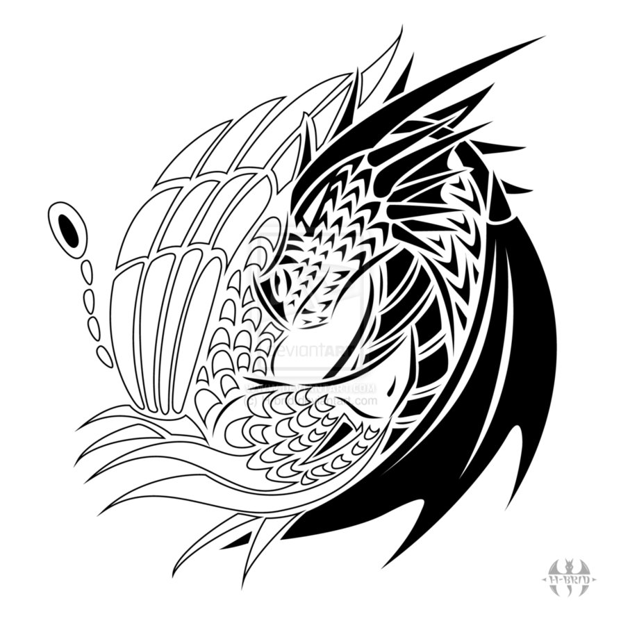 894x894 Collection Of Phoenix Dragon And Yin Yang Tattoo Model