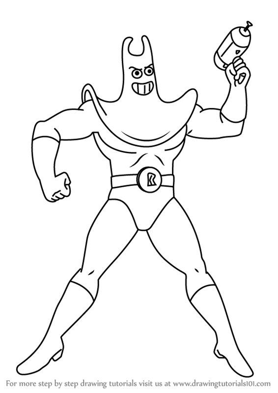 566x800 Learn How To Draw Man Ray From Spongebob Squarepants (Spongebob