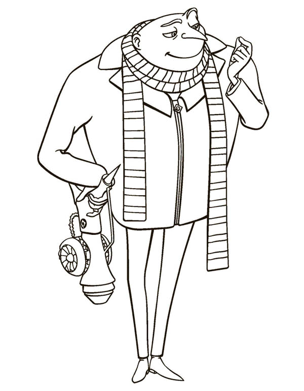 600x771 Gru With Shrink Ray Gun In Despicable Me Coloring Page