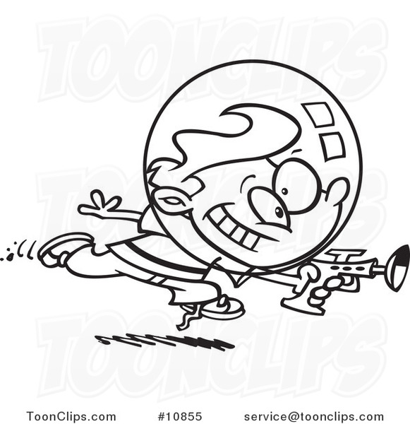 581x600 Cartoon Black And White Line Drawing Of A Space Boy Using A Ray