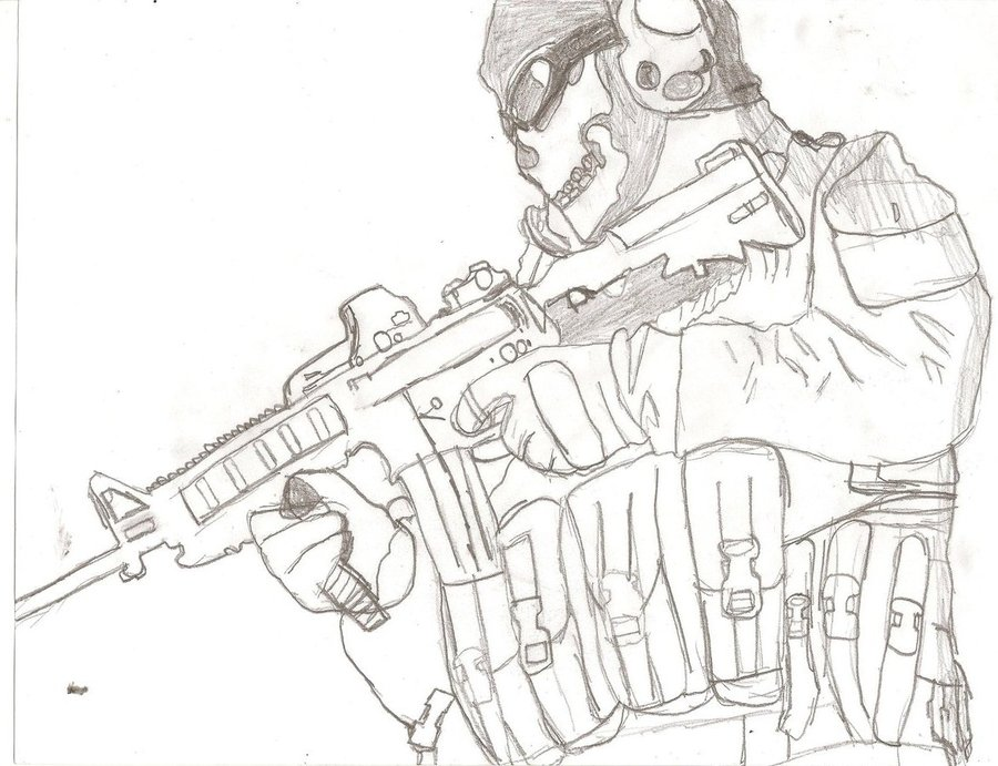 900x691 Call Of Duty Ghosts Coloring Pages Call Of Duty M.w.2 Ghost By