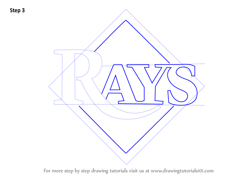 844x598 Learn How To Draw Tampa Bay Rays Logo (Mlb) Step By Step Drawing