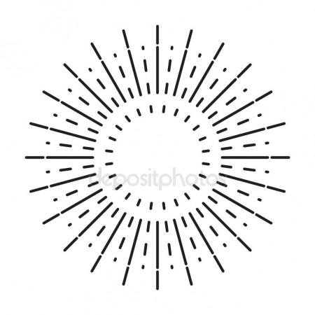 450x450 Linear Drawing Of Vintage Sunbursts Or Light Rays In Hipster Style