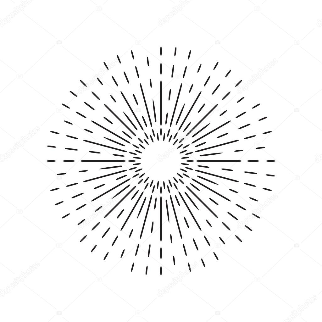 1024x1024 Sun Rays Linear Drawing. Star Burst In Vintage Style And Hand