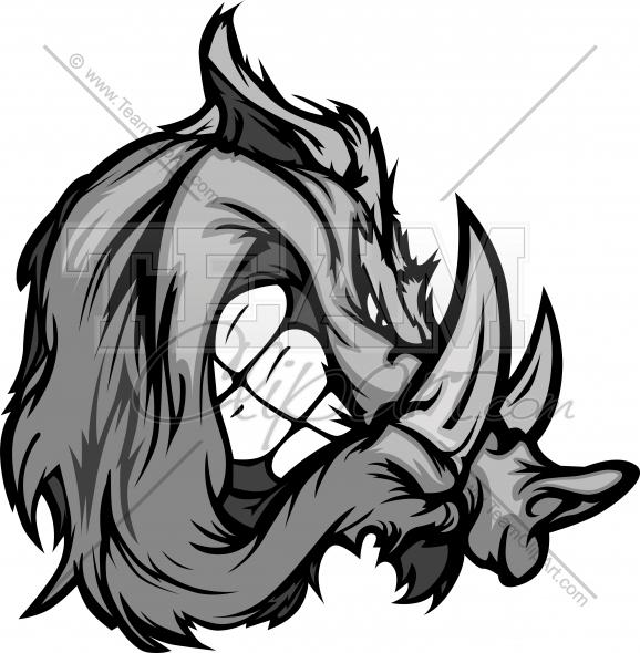 578x590 Boar Or Razorback Cartoon Face Clipart Image