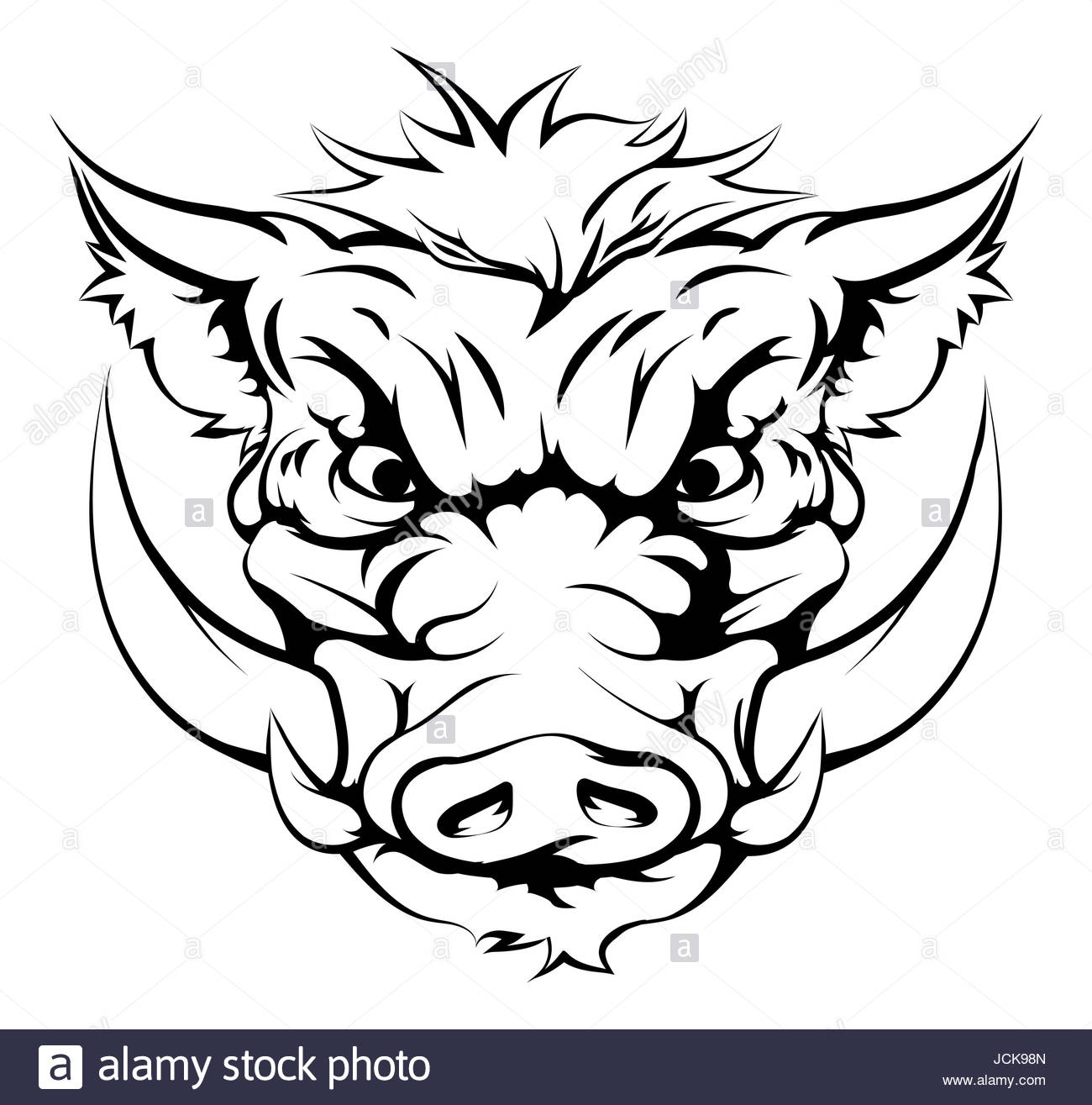 1300x1315 Drawing Of A Boar Animal Character Or Sports Mascot Stock Photo