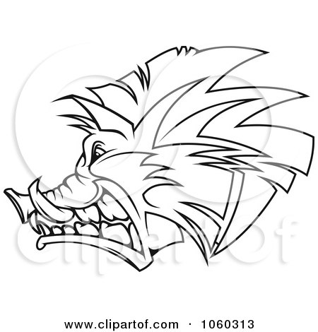 450x470 Royalty Free Vector Clip Art Illustration Of A Razorback Boar Logo