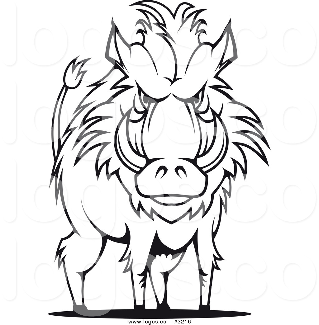 1024x1044 Royalty Free Vector Of A Black And White Razorback Boar Logo By