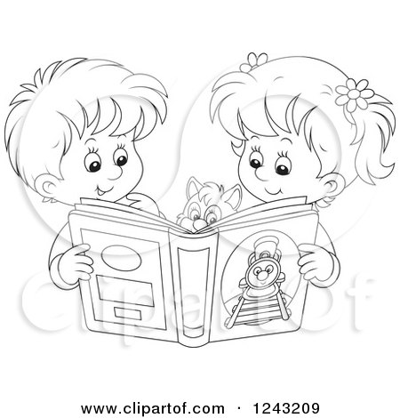 450x470 Clipart Of A Black And White Boy And Girl Reading A Story Book