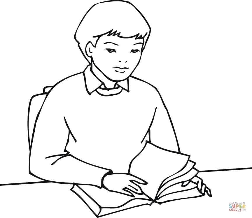 864x750 A Boy Student Reading A Book Coloring Page Free Printable
