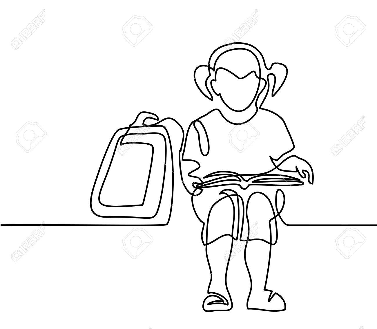 1300x1137 Girl Reading Book. Back To School Concept. Continuous Line Drawing