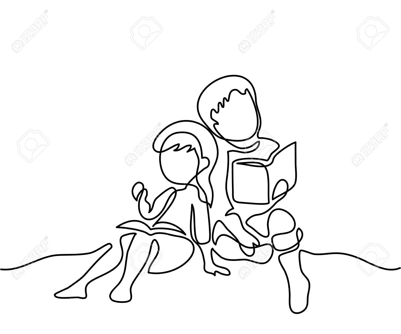1300x1083 Kids Reading Books. Back To School Concept. Continuous Line