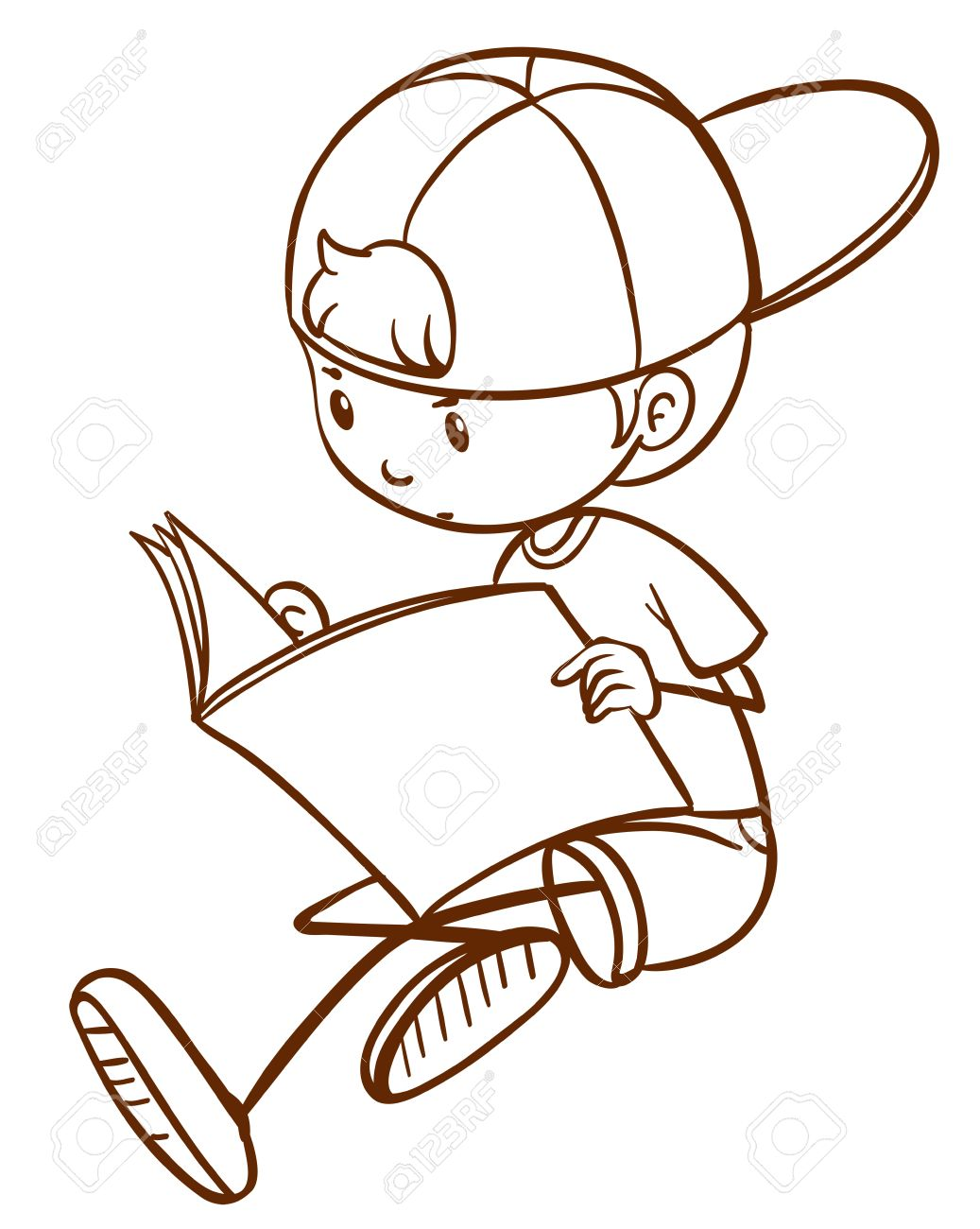 1037x1300 A Plain Drawing Of A Young Boy Reading On A White Background