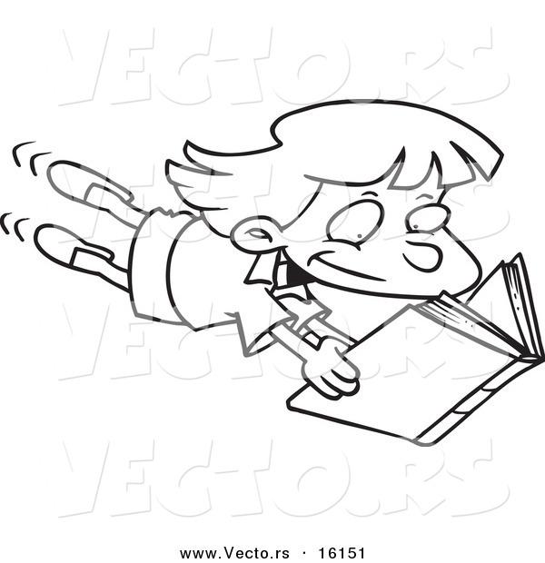 600x620 Vector Of A Cartoon Enthralled Girl Reading A Book