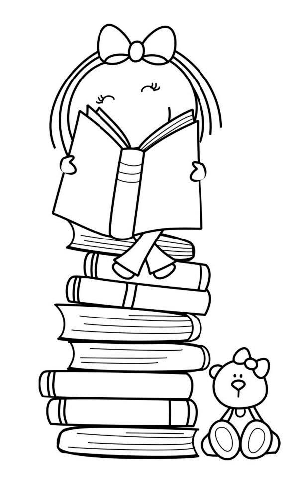 603x960 Girl With Books Bear Bears, Books