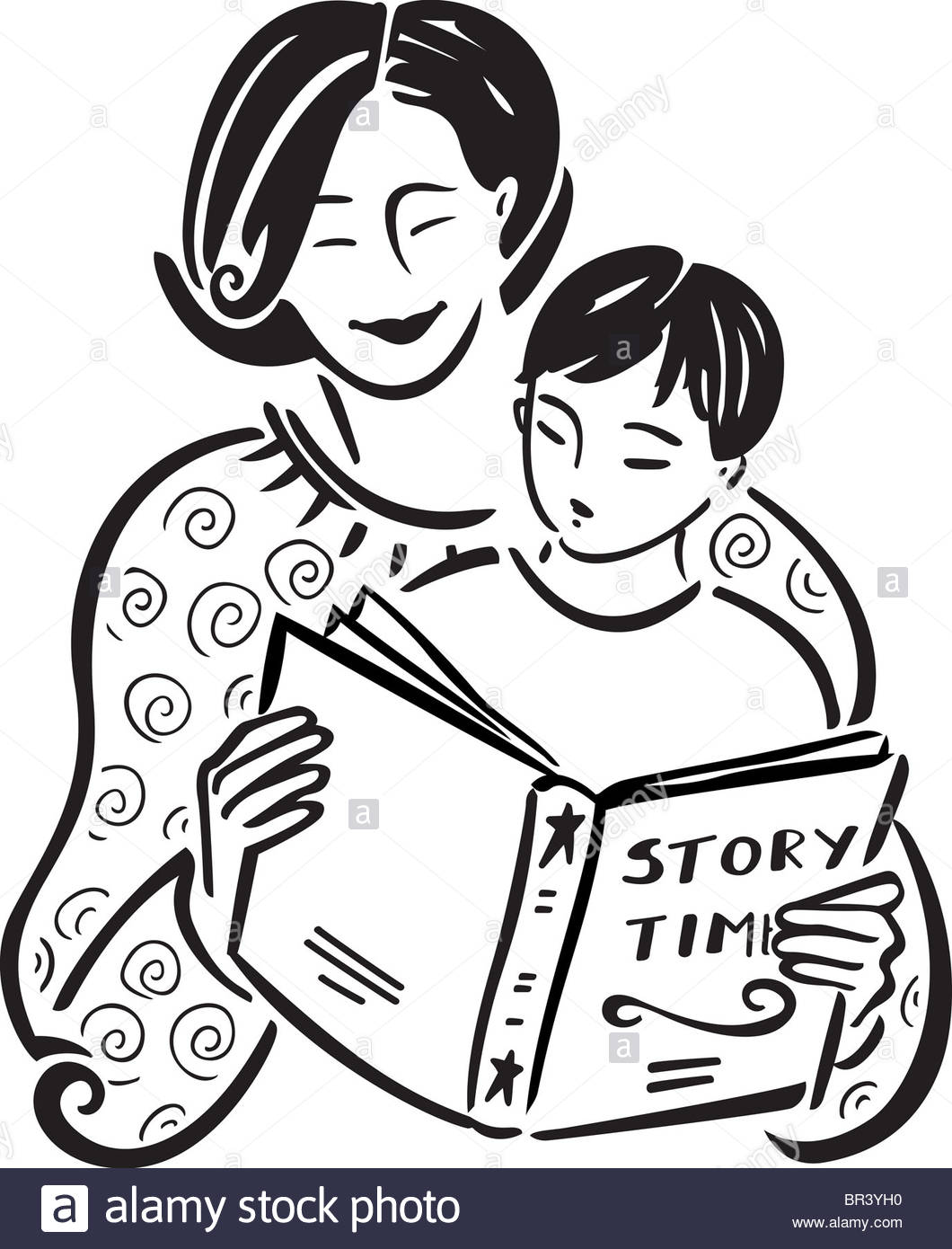 1060x1390 A Mother Reading A Story Book To Her Son Stock Photo 31434956