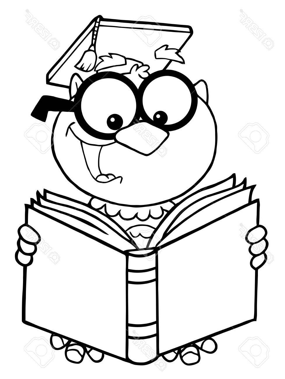 978x1300 Best 15 Outlined Owl Teacher Cartoon Character Reading Book Stock