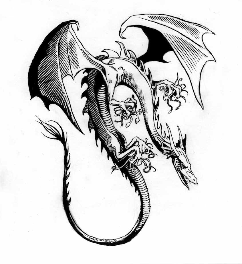 846x920 Awesome Drawings Of Dragons Interior Illustration, The Real