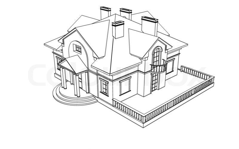 800x500 Drawing, Sketch Of A House Stock Photo Colourbox