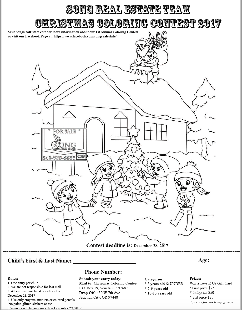 1016x1300 1st Annual 2017 Song Real Estate Team Coloring Contest Eugene