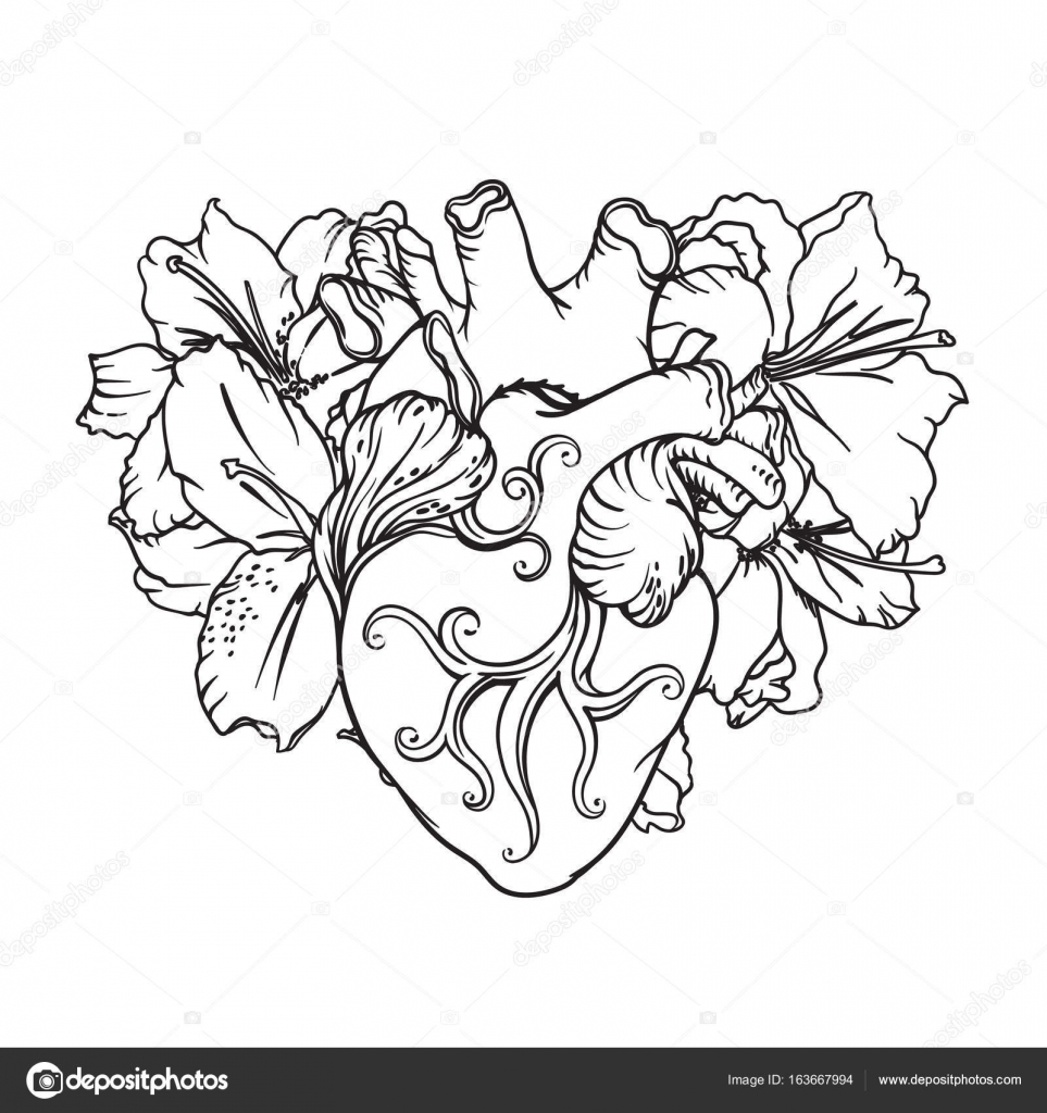 963x1024 Heart With White Lilies In Romantic Style. Blooming Heart Concept