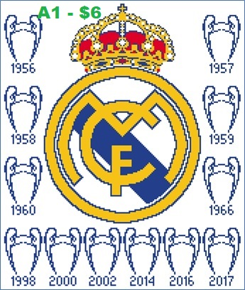 345x408 Easy Patterns Real Madrid Cf Cross Stitch Pattern