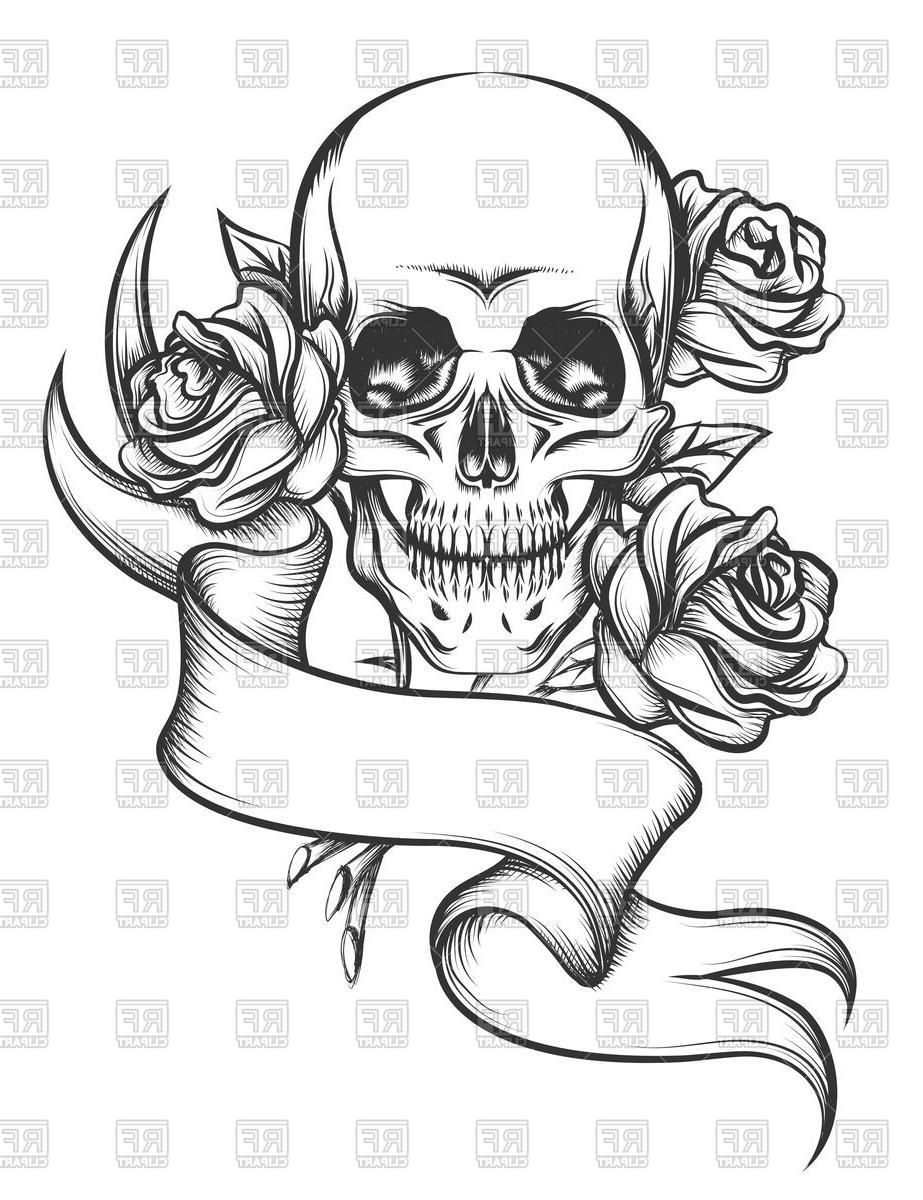 923x1200 Skull And Rose Ribbon Drawings Skull Ribbon And Roses Tattoo