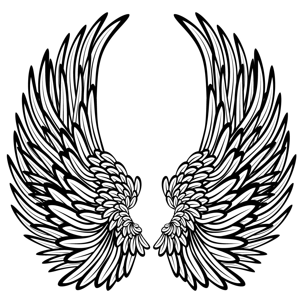 1280x1280 Angel Wings Line Drawing Angel Wings Template Largeangelwings
