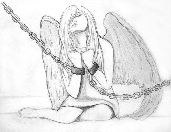 600x462 Fallen Angel Wings Drawing Fallen Angel Sketch By