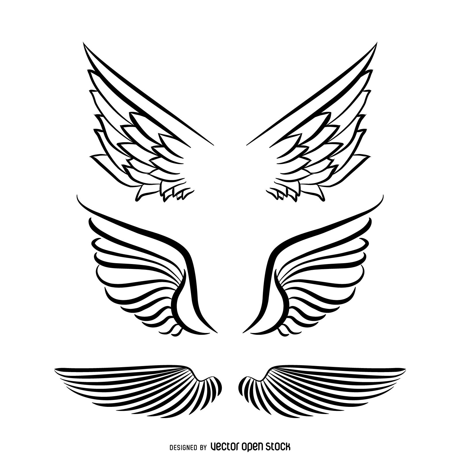 1601x1601 Angel Wings Illustration Set