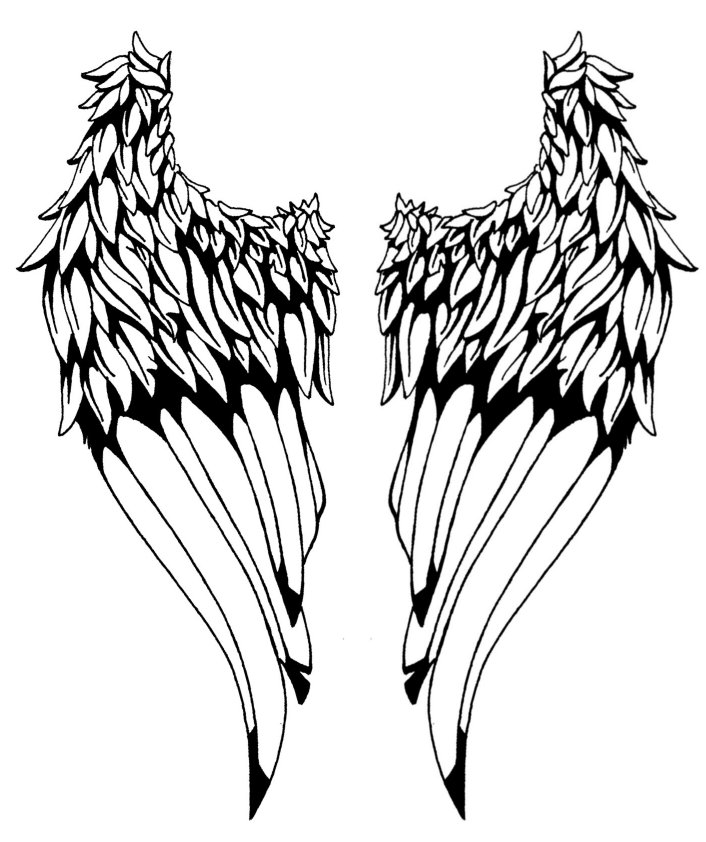 706x842 Collection Of Grey Ink Wings Tattoo Sample