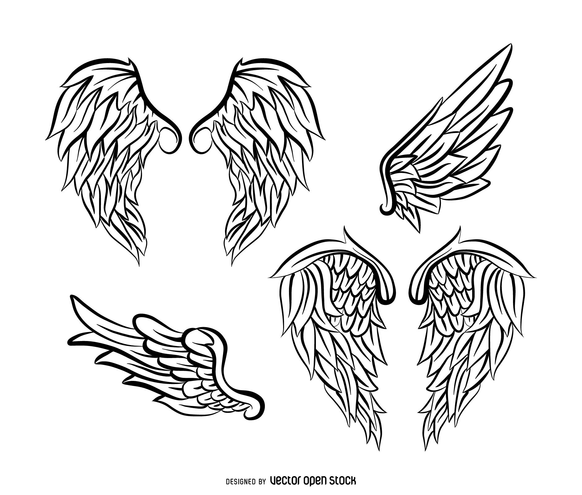 1881x1601 Realistic Angel Wings Illustration Set