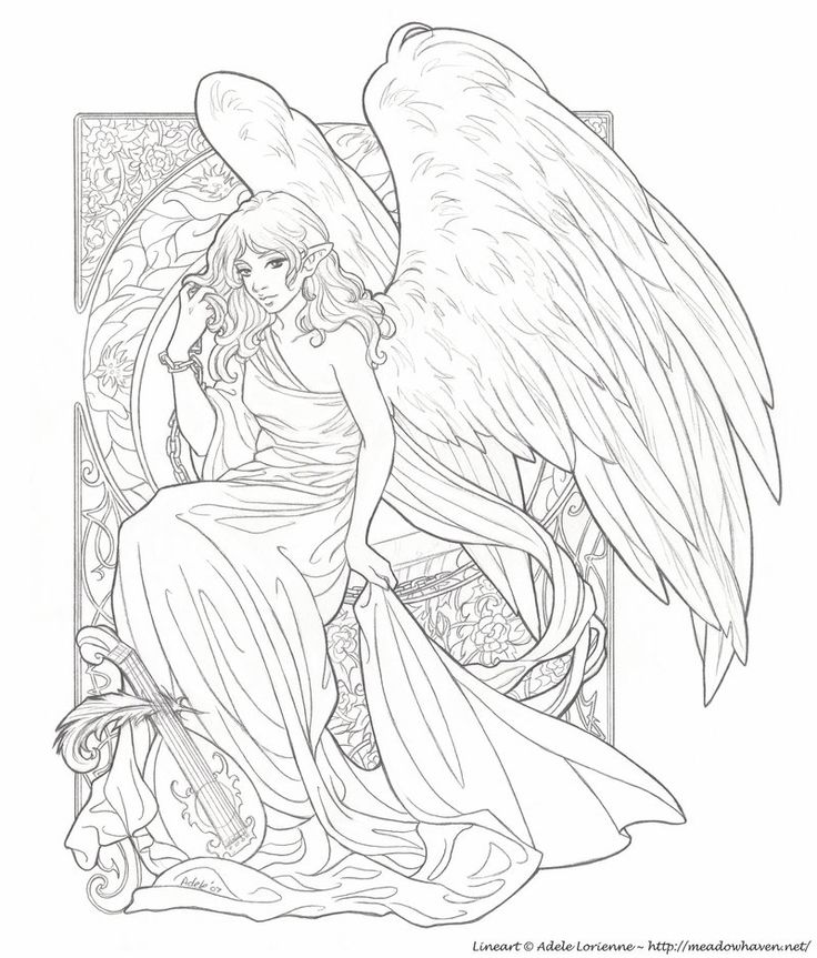 Realistic Angel Coloring Pages For Adults - Worksheet & Coloring Pages